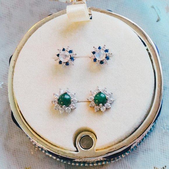 Sterling Silver Authentic Jade Emerald Earrings
